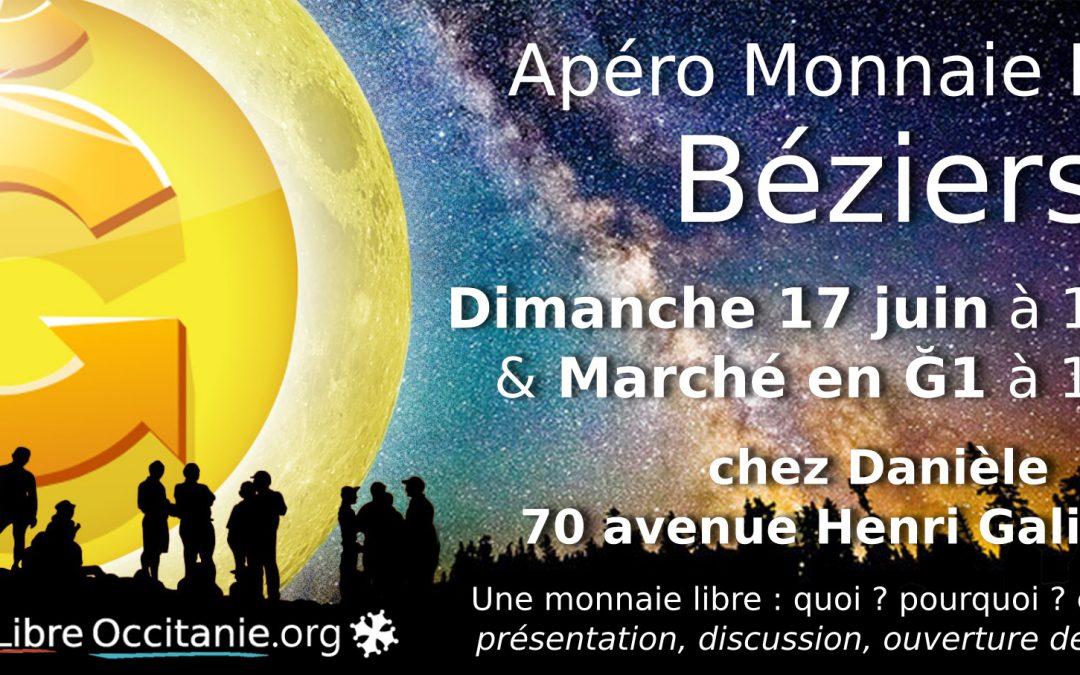 Apéro Monnaie Libre à Béziers + Marché Ğ1